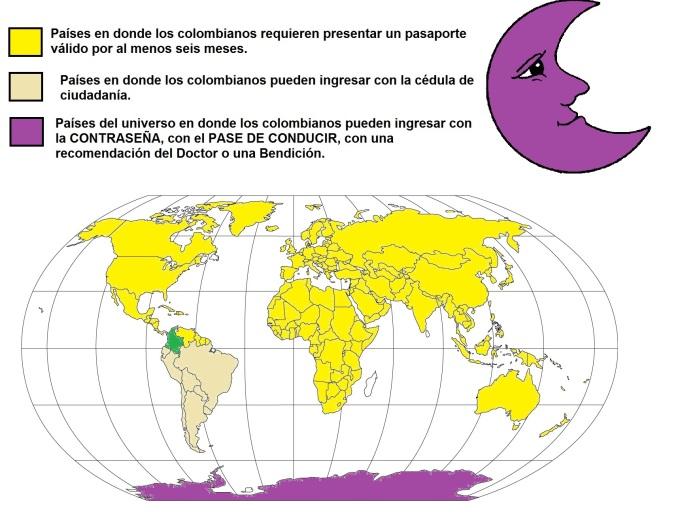 Paises del mundo en donde se requiere pasaporte colombiano