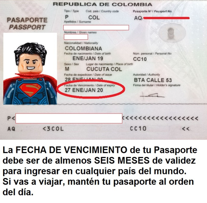 Pasaporte debe ser válido al menos 6 meses al día de expiración para viajar